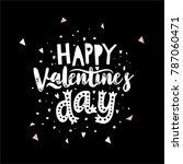 happy valentine's day hand... | Shutterstock .eps vector #787060471