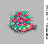 pixel art bouquet of red roses... | Shutterstock .eps vector #787064221