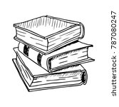 hand drawn stack of books.... | Shutterstock .eps vector #787080247