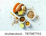 assorted ingredients and spices ...   Shutterstock . vector #787087741