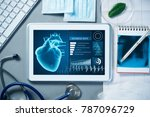 white tablet pc and doctor... | Shutterstock . vector #787096729