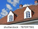 roof with dormer windows on a... | Shutterstock . vector #787097581