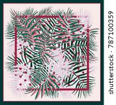 silk scarf with palm leaves and ...   Shutterstock .eps vector #787100359
