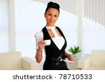 young business woman at work in ... | Shutterstock . vector #78710533