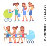 happy mothers on the walk with  ...   Shutterstock .eps vector #787121599