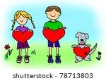 fun boy  girl and dog cartoon... | Shutterstock . vector #78713803