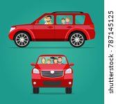 red car two angle set. car with ... | Shutterstock .eps vector #787145125