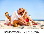 two lovers on beach and hot...   Shutterstock . vector #787146907