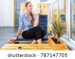 pretty businesswoman drinking... | Shutterstock . vector #787147705