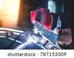 man welding aluminum... | Shutterstock . vector #787153309