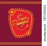 happy pongal greeting... | Shutterstock .eps vector #787159201