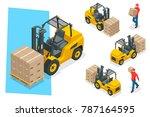 isometric forklift truck... | Shutterstock . vector #787164595