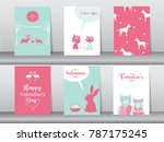 set of valentine's day card on... | Shutterstock .eps vector #787175245