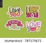 set of contemporary girlie love ... | Shutterstock .eps vector #787175671