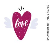hand drawn heart with wings | Shutterstock .eps vector #787176787