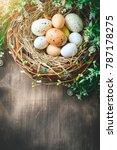 happy easter. congratulatory...   Shutterstock . vector #787178275