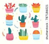 cactus collection design | Shutterstock .eps vector #787186021