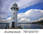 raffles marina lighthouse | Shutterstock . vector #787203757