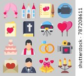 icon set about wedding. with... | Shutterstock .eps vector #787208611