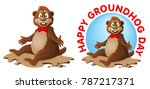 hapy groundhog day. funny...   Shutterstock .eps vector #787217371