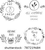 set of four healthy food labels ... | Shutterstock .eps vector #787219684