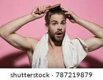 macho surprised face  bath... | Shutterstock . vector #787219879