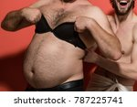 male hairy belly with lingerie. ...   Shutterstock . vector #787225741