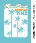 miami beach anchor seal stamp... | Shutterstock .eps vector #787236421