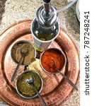 Small photo of condiments for Egyptian Ful mesdames