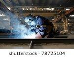 welder with protective mask... | Shutterstock . vector #78725104