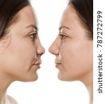 woman's profile  before and... | Shutterstock . vector #787272799