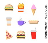 fast food colorful icons... | Shutterstock .eps vector #787272901