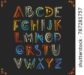 vector handwritten alphabet in... | Shutterstock .eps vector #787281757
