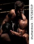 bodybuilder in fitness gym  | Shutterstock . vector #787282519