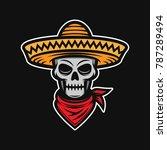mexican skull in sombrero.... | Shutterstock .eps vector #787289494