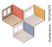 set of empty rooms in isometric.... | Shutterstock .eps vector #787294075