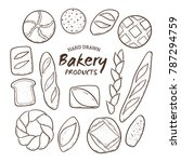 hand drawn bakery fresh bread... | Shutterstock .eps vector #787294759