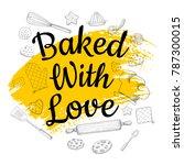 food poster print lettering.... | Shutterstock .eps vector #787300015