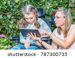 disability a disabled child in... | Shutterstock . vector #787300735
