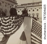 Small photo of President William McKinley honors Admiral George Dewey at US Capitol, Oct. 3, 1899. Dewey spoke to the crowd, thanking the people for the sword presented for his victory of the Battle of Manilla durin