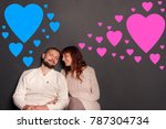 happy couple and valentines day ... | Shutterstock . vector #787304734