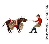 man pulling a stubborn donkey.... | Shutterstock .eps vector #787310737