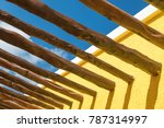 abstract wood post beams and... | Shutterstock . vector #787314997