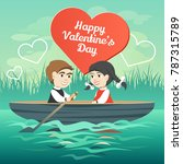 two happy lovers in a boat on... | Shutterstock .eps vector #787315789