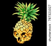 vector skull pineapple. exotic... | Shutterstock .eps vector #787321027