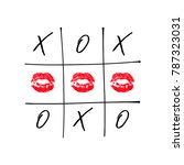 tic tac toe game with criss... | Shutterstock .eps vector #787323031