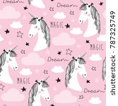 seamless pink unicorn pattern... | Shutterstock .eps vector #787325749