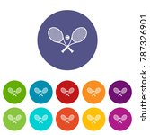 crossed tennis rackets and ball ... | Shutterstock .eps vector #787326901