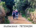 tourists walk in horton plains | Shutterstock . vector #787334284