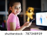 young girl wearing pajamas ... | Shutterstock . vector #787348939